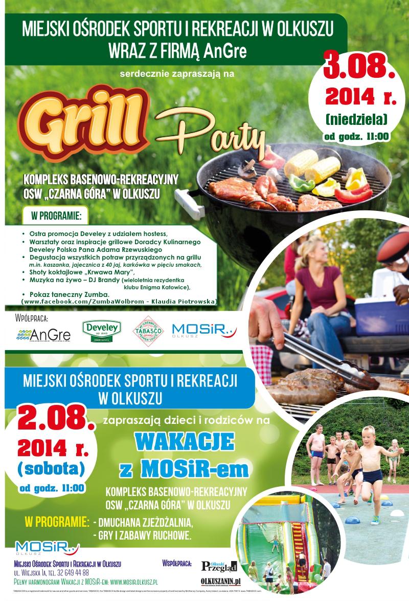 Plakat promujący grill party na kompleksie basenowo-rekreacyjnym OSW Czarna Góra w Olkuszu