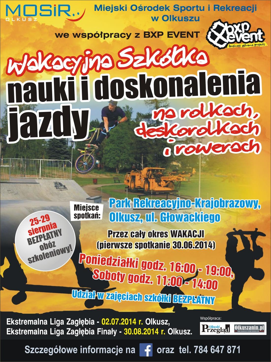 Plakat promujący wakacyjną szkółkę nauki i doskonalenia jazdy na rolkach, deskorolkach i rowerach