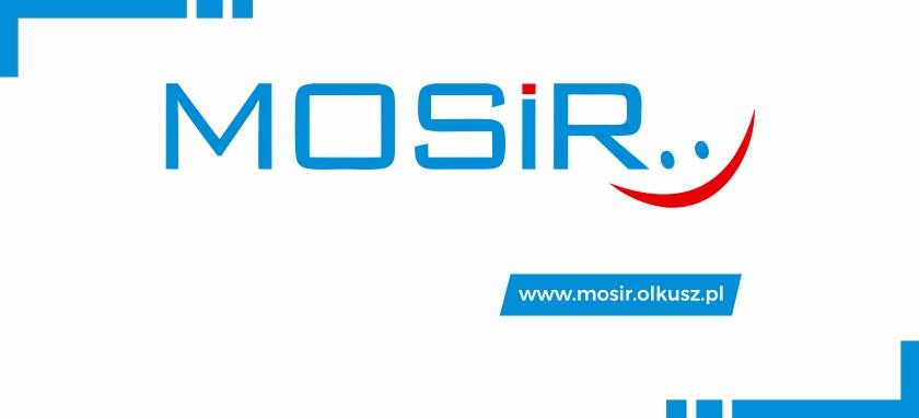 Logo MOSiR Olkusz ze stroną internetową na białym tle