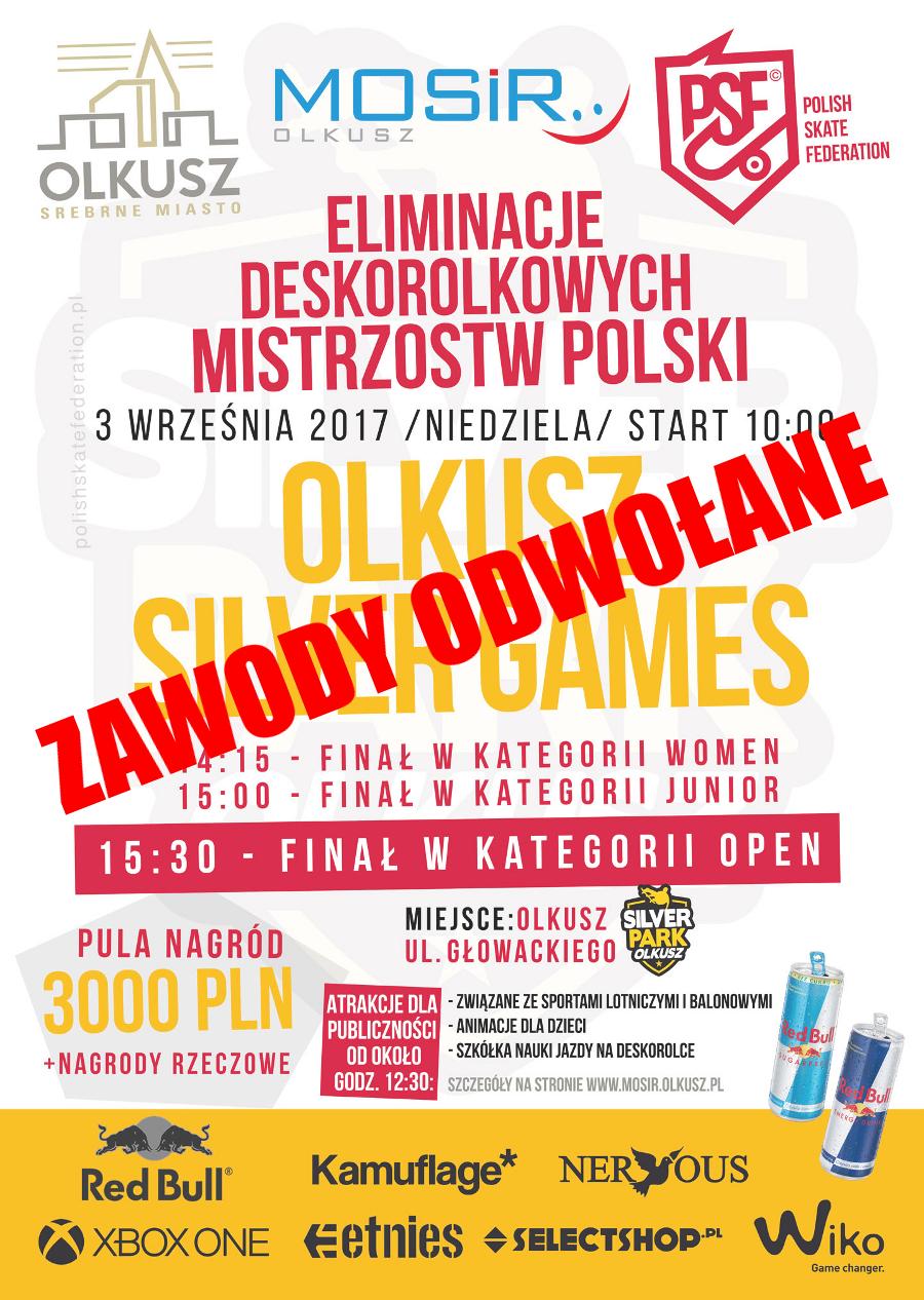 Odwołane Eliminacje Deskorolkowych Mistrzostw Polski Olkusz Silver Games