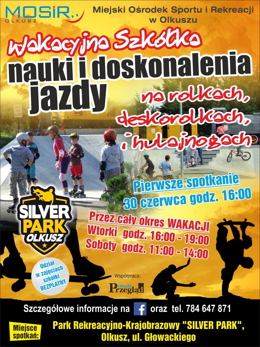 Plakat promujący wakacyjną szkółkę nauki i doskonalenia jazdy na rolkach, deskorolkach i hulajnogach