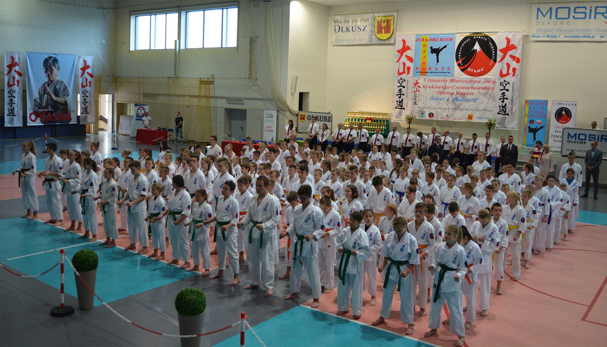 Uczestnicy podczas X Otwartych Mistrzostw Jury Krakowsko-Częstochowskiej Oyama Karate Dzieci i Młodzieży