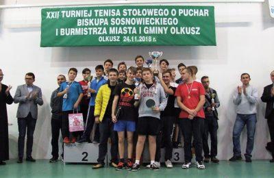 Więcej o: XXII Turniej Tenisa Stołowego o Puchar Biskupa Sosnowieckiego i Burmistrza Miasta i Gminy Olkusz