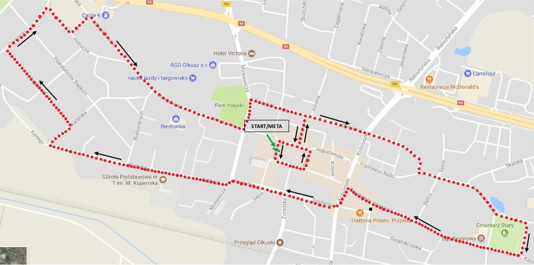 Mapa Biegu Ulicznego IV Srebrna Dziesiątka z zaznaczonym startem/metą oraz kierunkiem biegu
