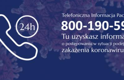 Więcej o: Telefoniczna Informacja Pacjenta w sytuacji podejrzenia zakażenia koronawirusem