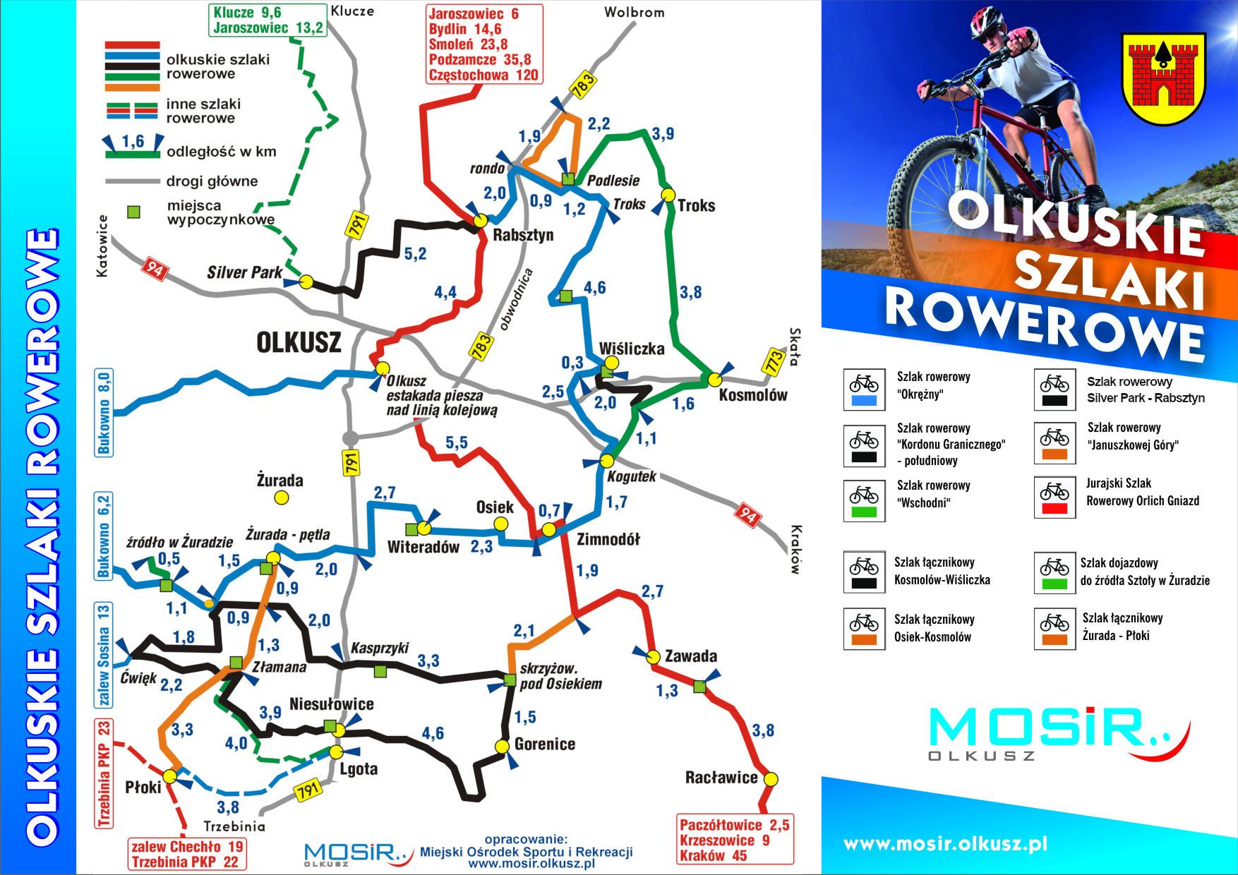 Mapka schematyczna Olkuskich Szlaków Rowerowych