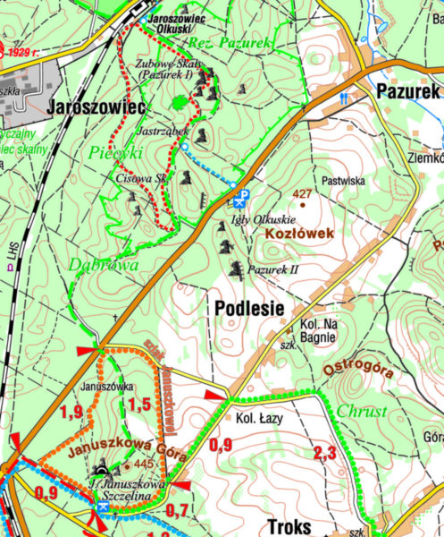 Mapa ze szlakiem Januszkowej Góry i ścieżki dydaktycznej rezerwatu Pazurek