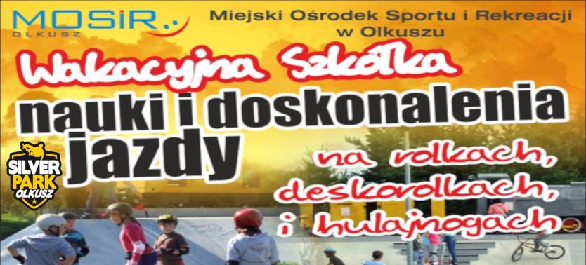 Slajder promujący Wakacyjną szkółkę nauki i doskonalenia jazdy na rolkach, deskorolkach i hulajnogach