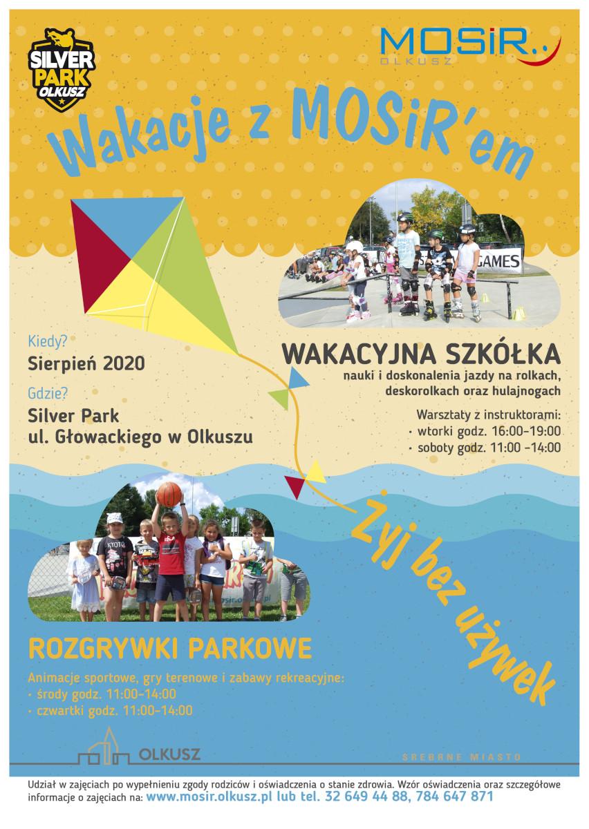 Plakat promujący Wakacje z MOSiR-em 2020 - sierpień