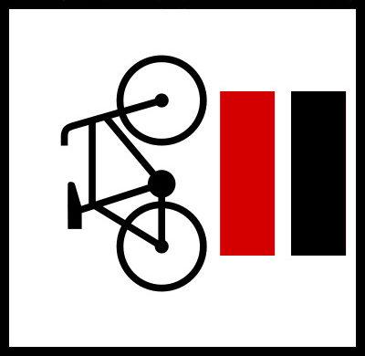 Znak Rowerowy ze szlakiem czerwonym i czarnym