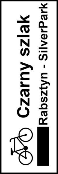 Znak Rowerowy z czarnym szlakiem Rabsztyn-Silver Park