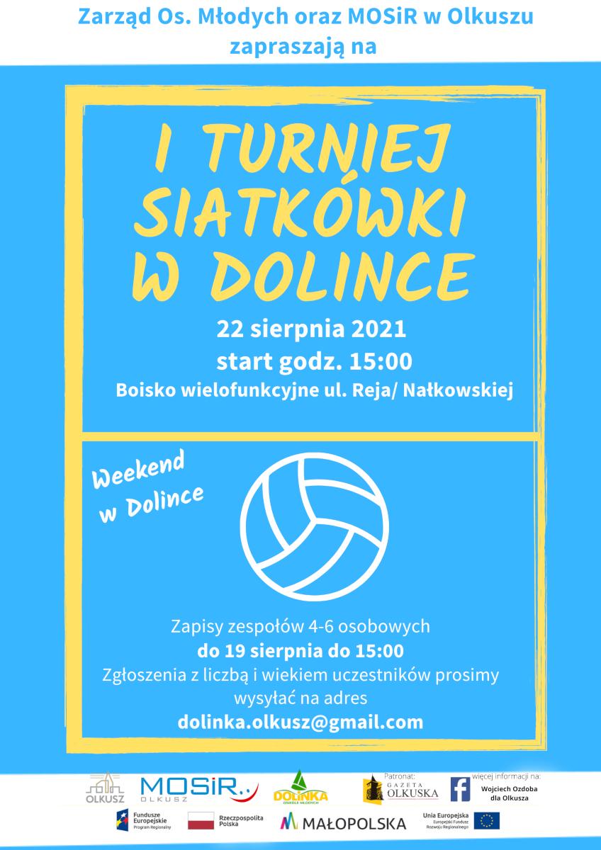 Plakat promujący turniej siatkówki w Dolince